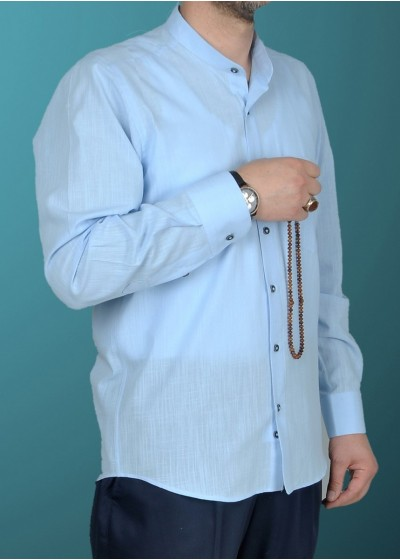Hakim Yaka Keten Gömlek Buz Mavisi